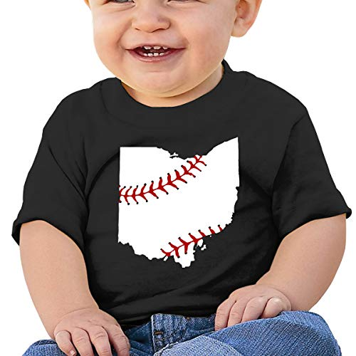 Baseball USA Ohio State Map Toddler Baby Girl Boy Round Neck Short Sleeved T-Shirt Tops Tee Clothes Black ()