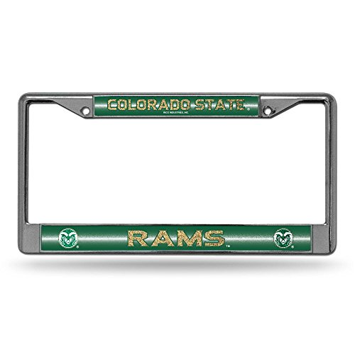 (NCAA Colorado State Rams Bling Chrome License Plate Frame with Glitter Accent )