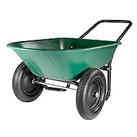 Marathon Yard Rover - 2 Tire Wheelbarrow Garden Cart - Green/Black