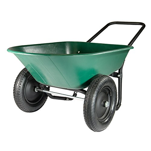 (Marathon Yard Rover - 2 Tire Wheelbarrow Garden Cart - Green/Black)