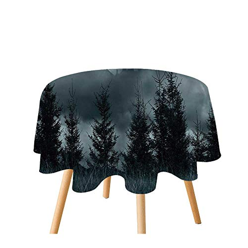 Halloween Polyester Round Tablecloth,Magic Castle Silhouette Over Full Moon Night Fantasy Landscape Scary Forest for Home Restaurant,47.2