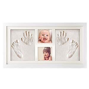 【Versión actualizada】Pootack Kit de Marco de Huellas de Mano y Pie de Bebé, Regalos Originales para el Recién Nacido y Fiesta de Bienvenida al Bebé - Dos Marcos y Dos Huellas (precio: 32,99€)