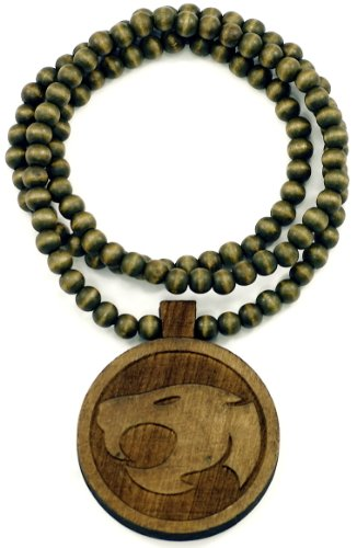 Thunder Cat Pendant Piece All Wood Style Necklace Brown