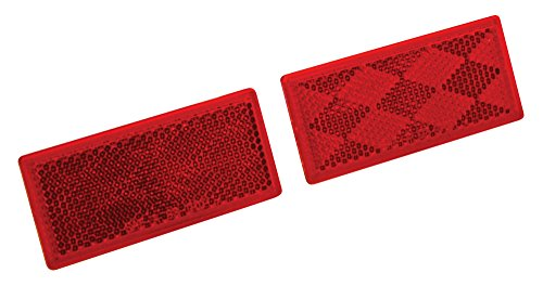 Reese Towpower 73888 Red Quick Mount Rectangular Reflector, 2 (Red Reflector)