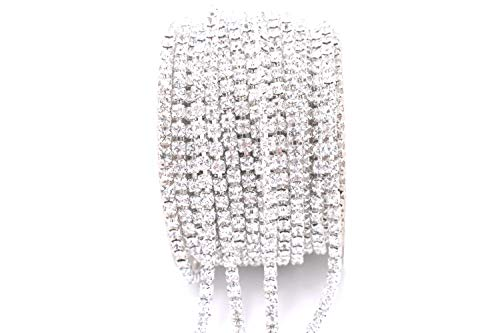 Art&Beauty 11 Yard Crystal Rhinestone Close Chain Trim Sewing Craft 3mm Silver - Rhinestone Chain Crystal