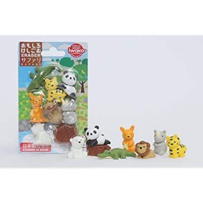 Iwako Wild Safari Animals Crocodile, Cool Panda Chill Out Japanese Erasers Blister Set: Toys & Games
