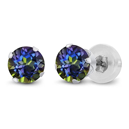 1.20 Ct Round Blue Mystic Topaz 14K White Gold 4-prong Stud Earrings 5mm