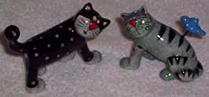 Michelle Allen Black & Gray Cats Salt & Pepper Shakers