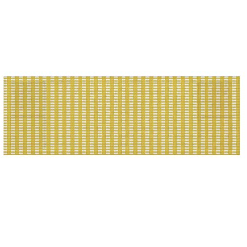 Checkered Cotton & Linen Microwave Oven Protective Cover,Classic English Pattern in Yellow Picnic in Summertime Theme Retro Striped Decorative Cover for Kitchen,36