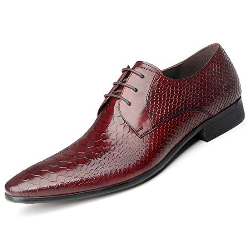 WZG cocodrilo patrón de los zapatos de vestir de cuero de los zapatos de los hombres zapatos de peluquería de cuello blanco yardas grandes de zapatos de punta zapatos de la boda de Nueva Inglaterra wine red