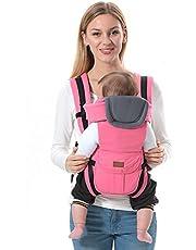 ThreeH Babybärare ryggsäck bomull och polyester 3 bärpositioner för nyfödda BC08, rosa