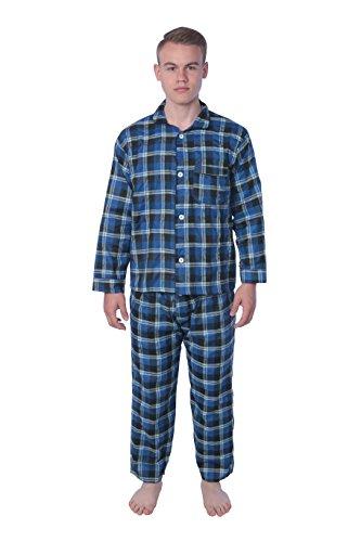 Check Pj Set (James Fiallo Sleepwear Men's Broadcloth Woven Pajama Set (Long Sleeve), MPJ08-BLU.Check.XL)
