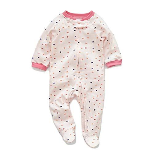 JooNeng Newborn Baby Cotton Footies Romper Infant Long Sleeve Animal Plant Printed Sleeper Pajamas One Piece (9-12 Months, Pink Dots) -
