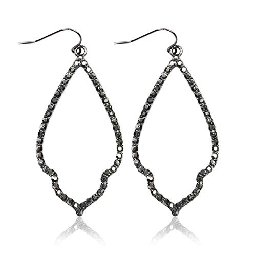 Sparkly Cubic Rhinestone Geometric Lightweight Open Hoop Earrings - Cut-Out Drop Dangles Scalloped, Moroccan Floral, Quatrefoil Clover, Kite (Moroccan Teardrop - Hematite)