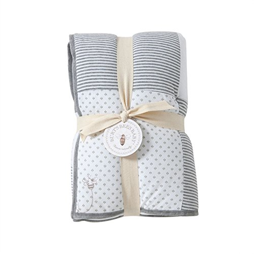 Burt's Bees Baby - Dottie Bee Reversible Quilt, 100% Organic and 100% Polyester Fill (Heather Grey)
