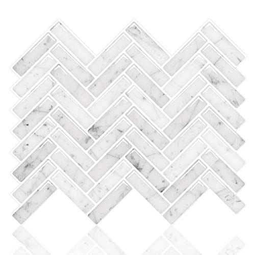 STICKGOO Premium Anti Mold Peel and Stick Tile Backsplash, Sky Marble Herringbone Adhesive Backsplash Tiles, Stick on Tiles for Kitchen & Bathroom (Pack of 10, Thicker Design) (Best Tile For Kitchen Backsplash)