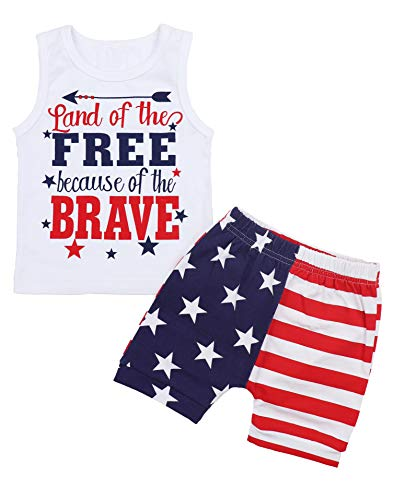 (4th of July Baby Boys Summer Outfits Sleeveless T-Shirt Top with American Flag Short Pants Independence Day Sets 2-3 T)