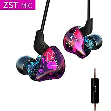 KZ ZST BA Colorido + DD En la Oreja los Auriculares Auriculares HiFi híbrido Bajo cancelación de Ruido Auriculares con el Mic Deportes Cable Desmontable: ...