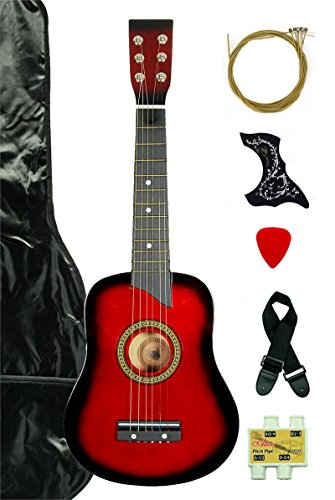 Red Acoustic Toy Guitar for Kids with Carrying Bag and Accessories & DirectlyCheap(TM) Translucent Blue Medium Guitar (Red Guitar)