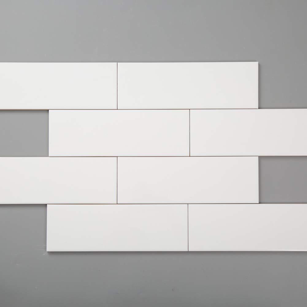 - Diflart White Ceramic Subway Tile 4x12 Inch Glossy Backsplash