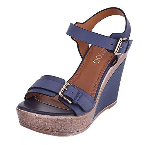 Corde Et Talon Luoluoluo Sandale Ouverte Compensé Bleu Boucle Chaussure Espadrille Femme Bande Plateforme Mode 8vgqA