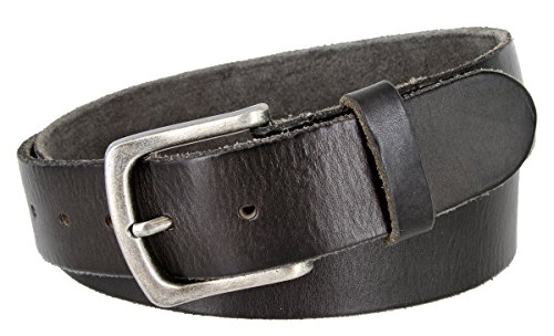 Full Grain Classic Oil-tanned Genuine Leather Casual Jean Belt (Black, - Classic Belt Silver