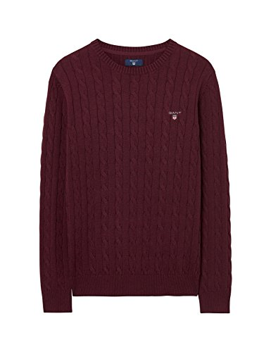 Gant Men's Men's Burgundy Cotton Cable Sweater in Size L Red by GANT