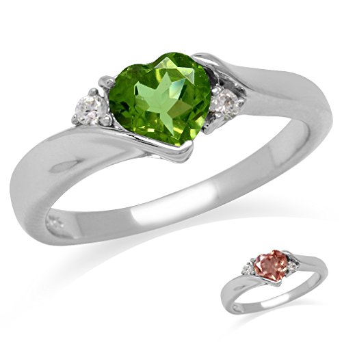 Heart Shape Synthetic Color Change Diaspore White Gold Plated 925 Sterling Silver Engagement Ring Size 6