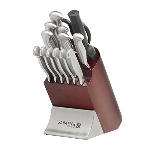 Sabatier 15-Piece Stainless Steel Hollow Handle Knife Block Set, Cherrywood (Stainless Hollow Handle Steak Knife)