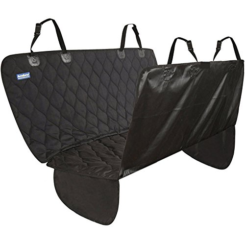 Acrabros Universal Fit Nonslip, Waterproof, Padded, Quilted, Convertible Hammock Dog Car Seat Covers with Extra Side Flaps, Black Review