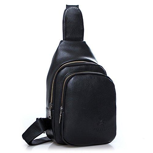 Wewod Bolsa de Pecho Bolso al Hombro Bolsa de Paquetes de Pecho Sling Bolsa de Aire Libre de para Ocio Deporte Senderismo Bolsa Mochila 18 x 29 x 7 cm (L*H*W) Negro