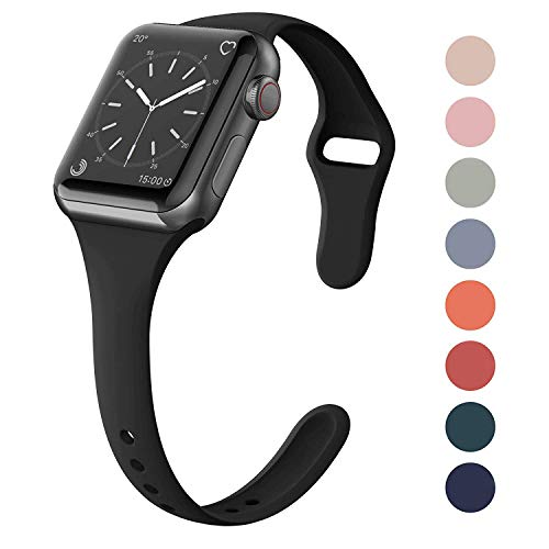 SWEES Sport Silicone Band Compatible Apple Watch 38mm 40mm, Soft Silicone Slim Thin Narrow Small Replacement Strap for iWatch Series 4, Series 3, Series 2, Series 1 Nike+, Sport, Edition Women, Black