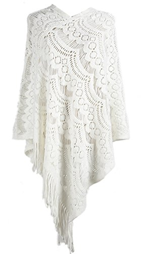 QZUnique Women's Sweater Cape Pullover Lace Shawl Tassles Knit Poncho-like Wrap,White,One Size ()
