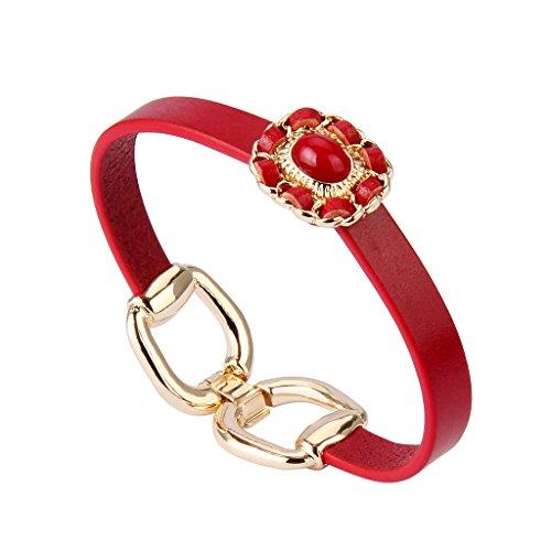 Nydelo Italian Leather Cuff Bracelet Gold Tone Alloy Metal Flower Wristband Handmade Bangle Bracelets Women Girls (red Belt Bracelet)