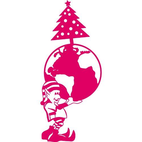 Elf with a Christmas bauble 140 cm x 60 cm Colour Blush Christmas Decoration, Windows and Wall Sticker, Wall Windows Art, Xmas Decals, Ornament Vinyl Sticker ThatVinylPlace