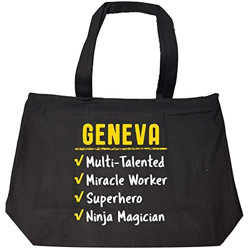 GENEVA Talented Superhero Ninja Miracle Worker Name Pride Funny Saying Gift - Fashion Zip Tote ()