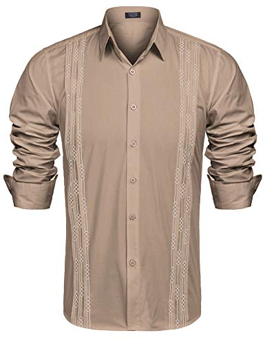 - COOFANDY Men's Long Sleeve Cuban Guayabera Shirt Embroidered Button-Down Dress Shirts