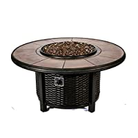 Tretco 39 in. Round Wicker Gas Fire Pit