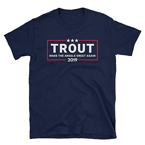 (LiberTee Trout Make The Angels Great Again Tshirt for Men and Women, Funny 2019 Baseball Shirt for Angel Fans )