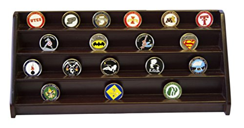 Coin Display Row (DECOMIL - 4 Rows Shelf Challenge Coin Holder Display Casino Chips Holder Cherry Finish)