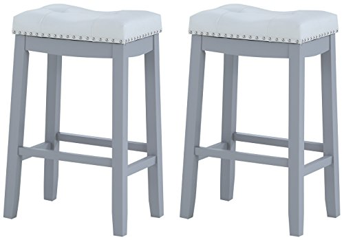 Angel Line 29 Cambridge Bar Stools Set of 2 , Gray with White Cushion