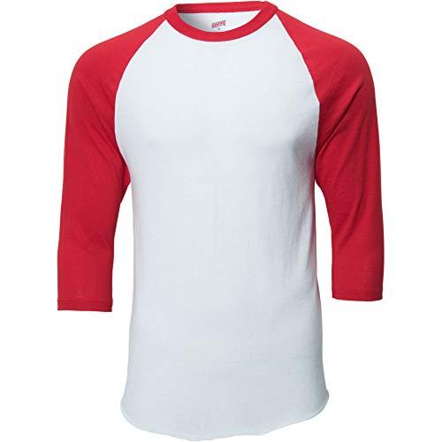 Soffe Jersey - MJ Soffe Men's 3/4 Sleeve Baseball Jersey, Medium, White/Red