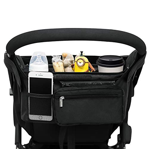 Universal Stroller Organizer with 2 Insulated Cup Holders, Lupantte Stroller Accessories, for Carrying Diaper, iPhone, Toys & Snacks, Fits Britax, Uppababy, Baby Jogger, Bugaboo and BOB Stroller. (Cup Organizer Holder Cell Cup)