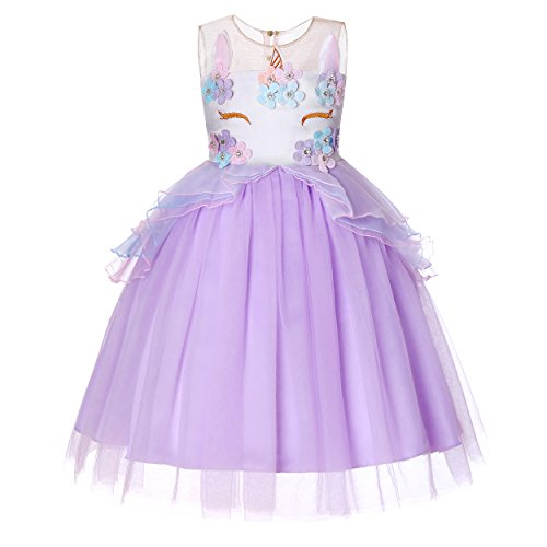 Molliya Unicorn Costume Dress Girl Princess Pageant Party Dresses Flower Evening Gowns Tutu Fancy Dress(Light Purple, 9T) ()