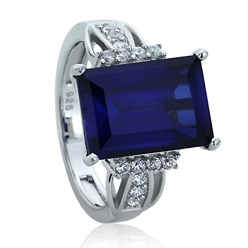 Sterling Silver Rectangular Step Cut Simulated Blue Sapphire CZ Cocktail Ring ( Size 5 to 9 ), 6 - Step Cut Cz Ring