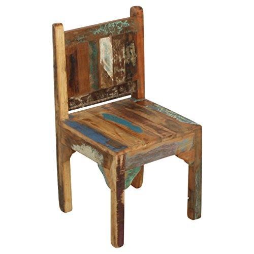 bunt STUFF Loft Kinderstuhl Kindermöbel Vintage Altholz im Shabby-Chic aus massiv Holz
