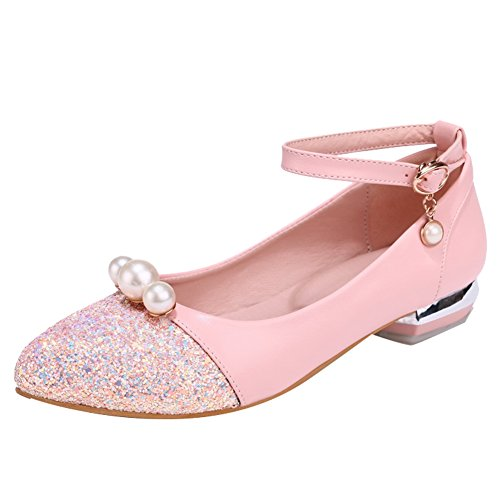 Latasa Pumps Beaded Womens amp; strap Cute Chunky Ankle Sequins Pink raSrq