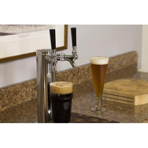Marvel ML24BTP3RP Twin Tap Built-In Beer Dispenser with Right Side Hinge, 24'', Black
