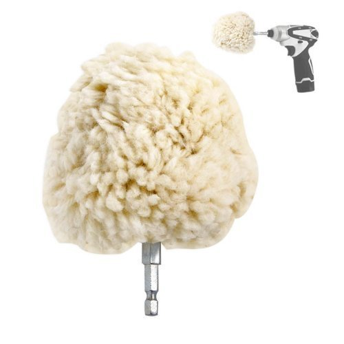 "Jumbo 4"" Genuine Wool Buffing Ball - Hex Shank - Turn Power Drill or Impact Driver into High-Speed Polisher"