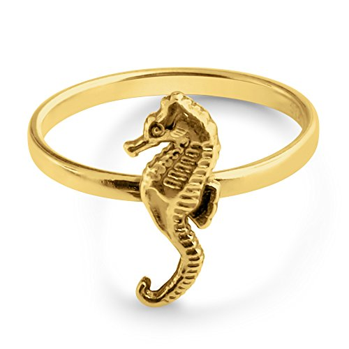 (Azaggi Gold Plated Sterling Silver Handcrafted Seahorse Stackable Ring (7))